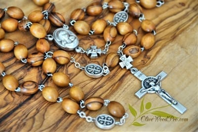 Holy Land Olive wood rosary necklace Holy soil and cross with silver our father beads certificate