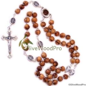 Round Brown Olive Wood Rosary Jerusalem Holy Earth Mary and Child Center